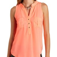Neon Sleeveless Button-Up Top by Charlotte Russe - Fiery Coral
