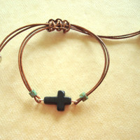 Tan Leather and Stone Cross Bracelet: For men and women. Adjustable clasp.