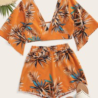 Leaf Print Blouse & Pompom Trim Shorts