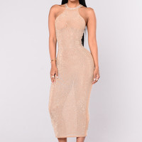 Glo Up Rhinestone Dress - Nude