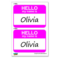 Olivia Hello My Name Is - Sheet of 2 Stickers
