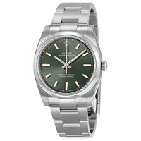 Rolex Oyster Perpetual Automatic Green Olive Dial Stainless Steel Unisex Watch 114200GNSO