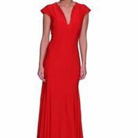 Beautifly Sexy Deep V-neck Knit Prom Ball Gown Evening Dress