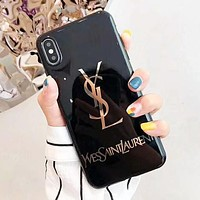 YSL Fashion New Letter Print Women Men Protective Cover Phone Case Black