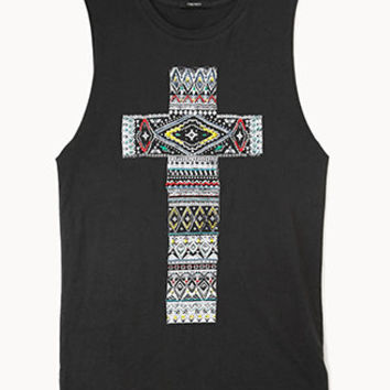 Embroidered Cross Graphic Tank