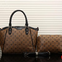 Lv Women Shopping Leather Satchel Handbag Crossbody Shoulder Bag Two Piece Set