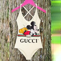 Gucci Print Bathing Suits Swimsuit Mickey Mouse Hang Neck Swim One Piece Bikini