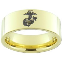9mm Gold Tungsten Carbide USMC Marine Anchor Globe Eagle Rings (full and half sizes 5-15)