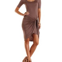 Deep Taupe Ruched Asymmetrical Wrap Dress by Charlotte Russe