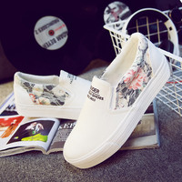 Floral Print Womens Sports Shoes Casual Canvas Shoes