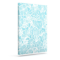 "Jacqueline Milton ""Vine Shadow - Aqua"" Blue Floral Outdoor Canvas Wall Art"