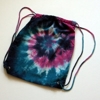 Tie Dyed Blue and Raspberry Drawstring Backpack, Made To Order
