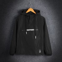 Zippers Hats Windbreaker Simple Design Pullover Jacket [415639535652]