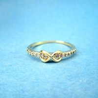 Delicate,Classy, Infinity, Tiny Cubic Setting, Gold, Silver, Pink Gold, Ring