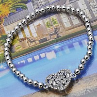 Rhodium Plated Women Heart Fancy Bracelet, with White Cubic Zirconia, by Folks Jewelry