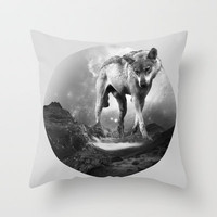 Galactic Wolf Throw Pillow by Michele Lenarduzzi