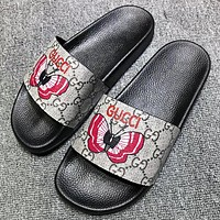 GUCCI Fashion New Butterfly More letter Print Flip Flop Slippers Shoes
