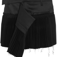 Haider Ackermann - Pleated wool-blend and twill mini skirt
