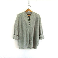 vintage slouchy sweater. gray sweater. henley pullover shirt. size XXL
