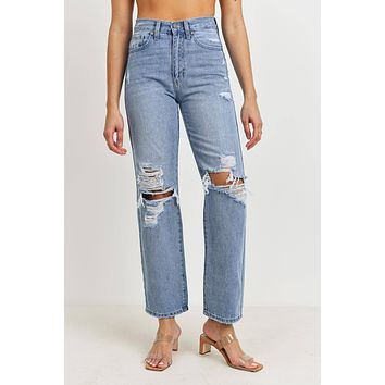 High Rise Distressed Dad Jeans