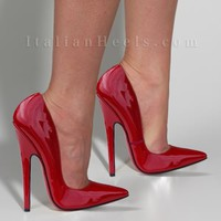Pumps: Sibilla 3229 - 6' spiked Red Pumps