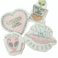 WEIRD Girl Alien Canvas Patch Set!