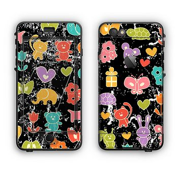 The Furry Fun-Colored Critters Pattern Apple iPhone 6 Plus LifeProof Nuud Case Skin Set