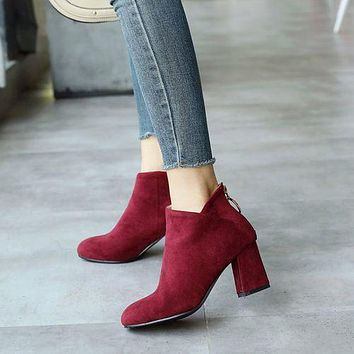 Round Toe Women's High Heeled Chunky Ankle Boots