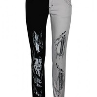 Jist Black and White Skeleton Split Leg Jeans - Buy Online at Grindstore.com