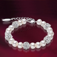 Free Shipping Freshwater 100% Natural Real Pearl Bracelet White Pearls Women Bracelet Pearl Jewelry 925 Sterling Silver de perle