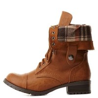 Plaid-Lined Fold-Over Combat Boots by Charlotte Russe - Tan