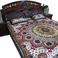 Mogul Bed Cover Indian Tapestry Floral Print Cotton Bedspread Queen Size 2 Pillow Covers