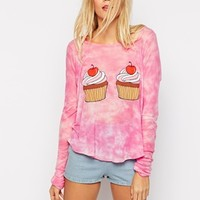 Wildfox Long Sleeve Top With Cupcake Print & Frosted Scent
