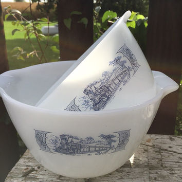 2 Currier and Ives milk glass bowls, farmhouse mixing bowls, nesting cinderella bowls, blue and white ovenware bowls, blue transferware