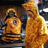 Bape shark camouflage couple trend stitching color hoodie jacket