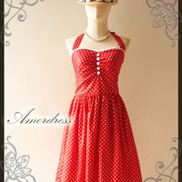 Once Upon A Time...Vintage 50's Inspired Halter Neck Gorgeous Red with White Polka Dot White Lace Wedding Prom Party Dress -Size S