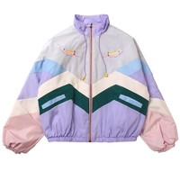 Embroidered Patchwork Windbreaker Jacket
