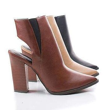 Odin01 By Bumper, Pointy Toe Cut Out Back Triangle Stacked Chunky Heel Ankle Booties