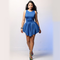 Sleeveless Asymmetrical Pleated Mini Dress
