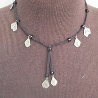 Dangling Charm Necklace on Black Leather Cord Necklace, Choker Length, Nice Vintage Southwestern Fashion Jewelry with Free Shipping in USA