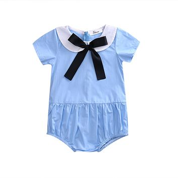 Summer born Infant Baby Girls Short Sleeve Romper Peter pan Collar bow-knot Jumpsuit Outfits Sun-suit Clothes