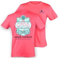Simply Southern Preppy Collection Preppy Classy Happy T-Shirt in Hot Pink