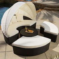 Sunbed Outdoor Lounger Canopy Wicker Rattan Day Bed Patio Set + Coffee Table