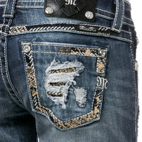 Miss Me Gold Sequin Pocket Bootcut Jeans