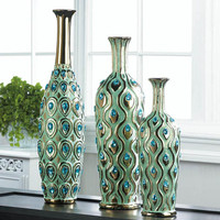 Medium Peacock Turquoise Jeweled Vase