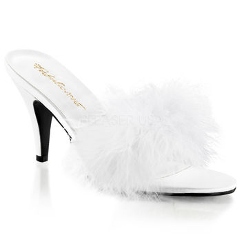 Pleaser Pink Label White Amour Slippers