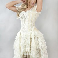 Gothic Victorian Steampunk Vintage Lace Taffeta Corset Wedding Prom Dress 14-16