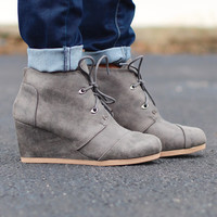 Olee Distressed Suede Wedge Bootie {Grey}