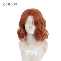 ccutoo The Avengers Black Widow Natasha Romanoff Short Curly Synthetic Hair Cosplay Wig