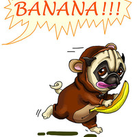 """Funny card with Pug-monkey. Banana. Printable greeting card, Instant Download 5 x 7"""" JPG file. Funny sketch drawing."""